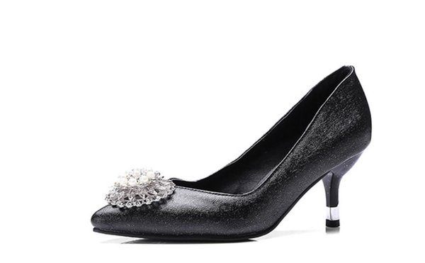 Free send Hot Spring and autumn New style Water drill pointed end flower high heel shoes woman single shoes