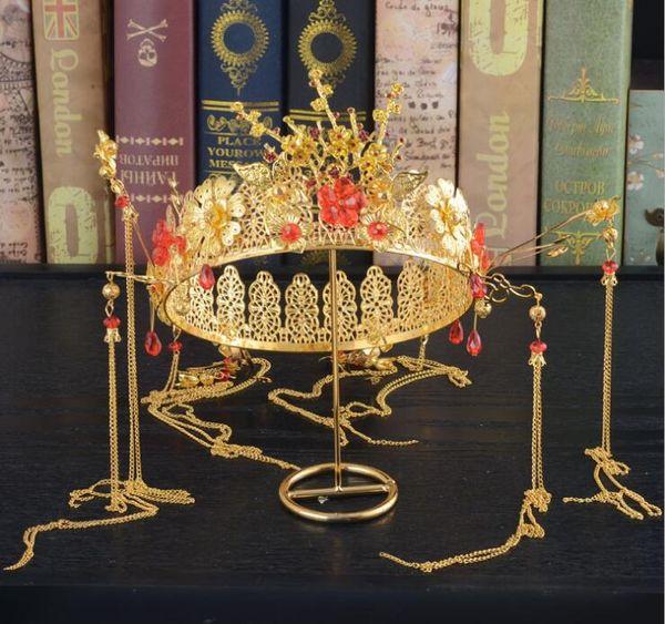 Tiara nuziale Diadema nuziale cinese Costume antico cheongsam mostra copricapo corona in lega di abbigliamento