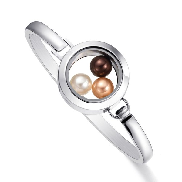 2018 Newest Fitting 8mm Pearl 316 l Stainless Steel Glass Locket Bracelet Bangle for Women