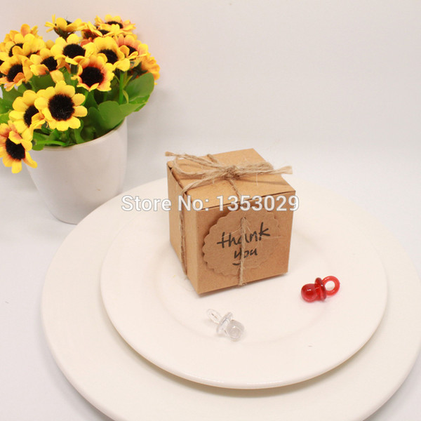 Wholesale- 100pcs/lot Rustic Wedding Decor Kraft Paper Wedding Candy Box with Thank You Tag for wedding centerpieces table decoration