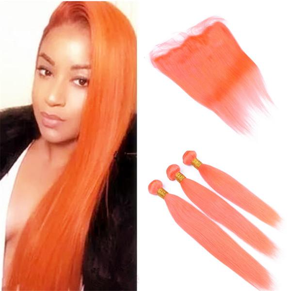 Шелковистая прямая человеческих волос кружева закрытия фронтальной оранжевые и светло-оранжевые пучки Девы Малайзии человеческих волос Weave связки с кружева фронтальная