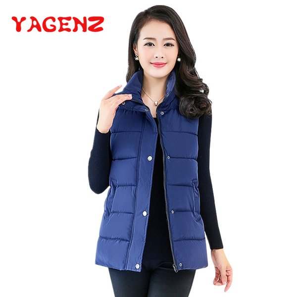 YAGENZ Short Vest Sleeveless Coat Women Autumn And Winter Clothes Down Cotton Jacket Female Body warmer Women Tops Double pocket