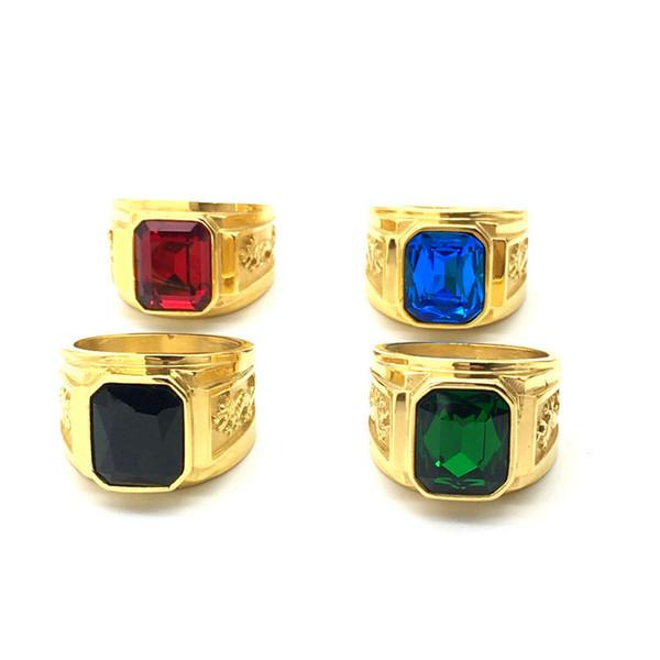 Stile retrò in acciaio inox drago totem anello per uomini vetro pietra anelli di nozze del partito 5 colori gratuiti Fhipping RC-183