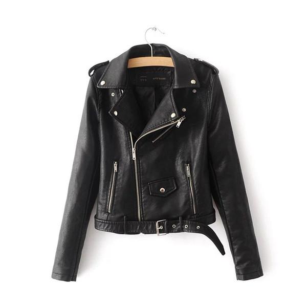 Las nuevas mujeres de la moda de gamuza chaqueta de la motocicleta Slim Brown forrado de cuero sintético suave hembra abrigo Epaulet cremallera prendas de vestir exteriores