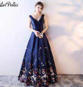 Printed Floral Satin Evening Dresses Long 2017 New Elegant V-neck Shoulder Straps Navy Blue Evening Gown