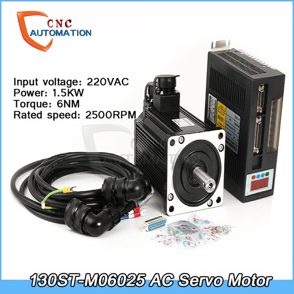 AC Servo Motor 1.5KW 6N.M 2500rpm 130ST-M06025 + Servo Sürücü + 3M Kablo Komple motor kitleri Yüksek Kalite CNC