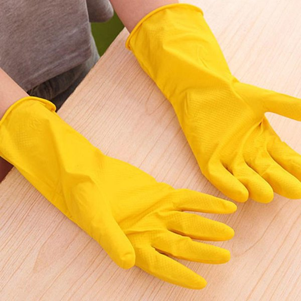 Hot Sale Thin Cleaning Durable Waterproof Glove Yellow Rubber Housework Mittens Non Slip Grain Design Long Dish Washing Gloves DH0029