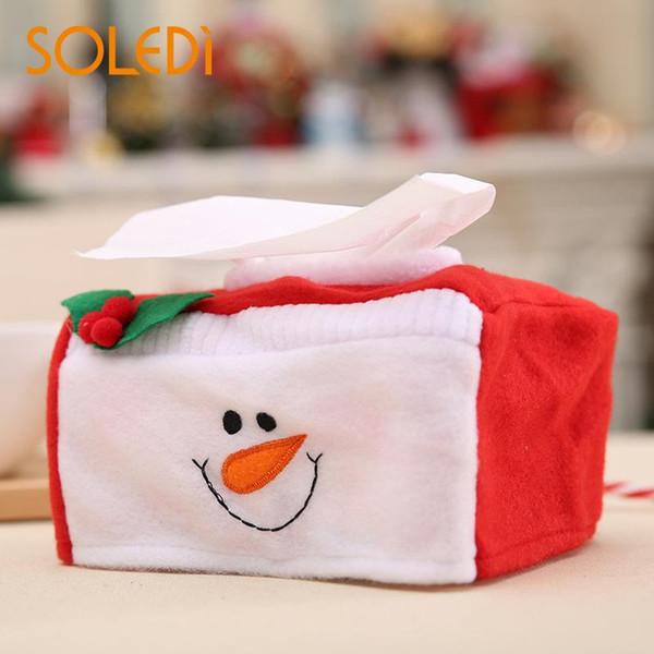 Caixa de tecido de natal caso papai noel natal toalhas de papel guardanapo titular decoração