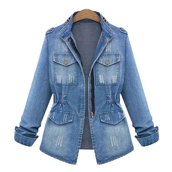Winter Retro Washed Women's Coat Zipper Pocket Long Sleeve Stand Collar Slim Fit Denim Coat S-5XL