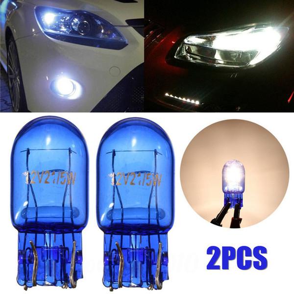 2018 2 pezzi T20 7443 W21 / 5W alogena bianco DRL indicatori di direzione stop freno fanale posteriore lampadina auto lampada faro lampadine