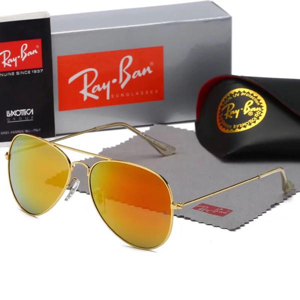 1pcs nuova moda vintage mens donne designer occhiali da sole pilota occhiali da sole cornice oro viola colorato specchio 58mm Len Eyewear scatola marrone