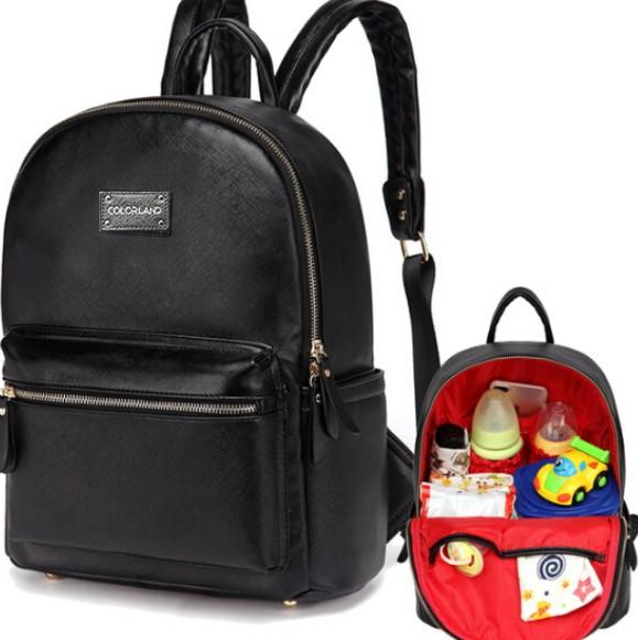 0ed1f35f39 COLORLAND PU Leather Baby Bag Organizer Tote Diaper Bags Mom Backpack  Mother Maternity Bags Diaper Backpack Large Nappy Bag