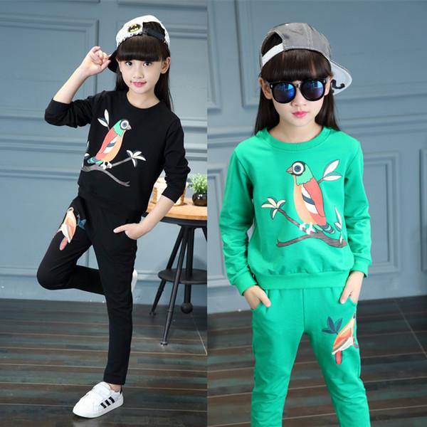 Meninas Conjuntos de Roupas de Primavera Outono Crianças Algodão de Manga Longa Camisas + calças Ternos Casual Esportes Outfits Marca Fatos