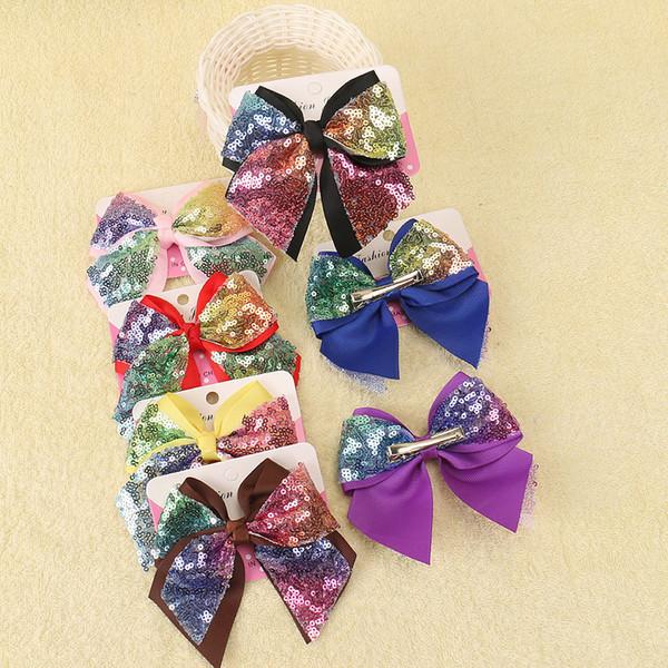 Arricciature di capelli Jumbo arcobaleno con clip per bambini bambino scuola grande Paillette Hairpin Bowknot