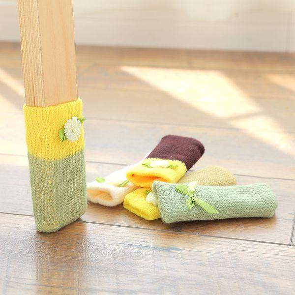 4pcs/set Anti Slip Mat Bumper Damper Cute Furniture Legs Feet Rug Caps Felt Pads Knitting Chair Legs Socks Table Protector