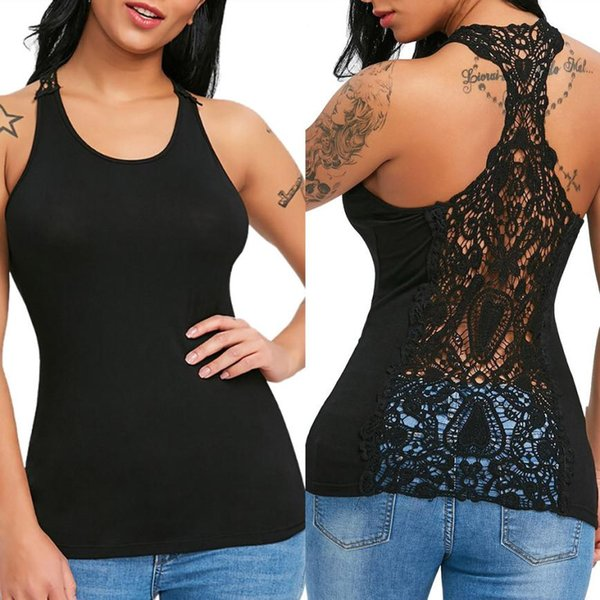 7d14b437d women tshirt summer top sexy sleeveless 2018 plus size Sexy Womens Lace  Trim Racerback Tops Hollow