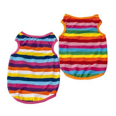 Großhandel Rainbow Stripe Sommer Hundebekleidung Haustiere Hunde Breathful Baumwolle T-Shirt mit Runde Hundehalsband Pet Supplies Dog Zubehör