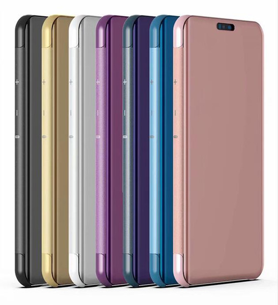 Custodia a portafoglio in pelle a specchio per LG V40 V30 Galaxy J6 Prime Xiaomi 8 MI8 8SE SE Custodia a conchiglia in F1 POCOPHONE F1 Smart Window metallizzata cromata