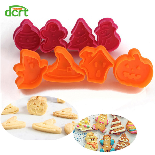 4pcs/set Christmas cookie cutter Baking Pastry Stamp gingerbread Man,Snowman Biscuit Mold Fondant Plunger cake decoration Tool
