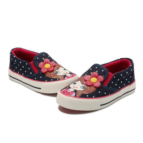Girls Canvas Shoes 2018 New Autumn Children Flats Polka Dot Fashion Kids Sneakers Denim Girls Princess Shoes Casual Footwear 32-37