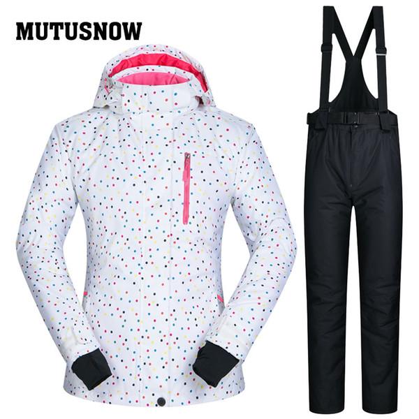 MUTUSNOW Women Ski Suit Snowboard Jacket Pant Windproof Waterproof Outdoor Sport Wear Dot Style Winter Female Clothing Trouser