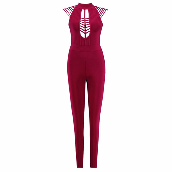 eae95c2975d6 2018 new arrival Women Sexy Jumpsuit Rayon Hollow Out Celebrity Party  Rompers Bodycon Bandage Jumpsuits wholesale
