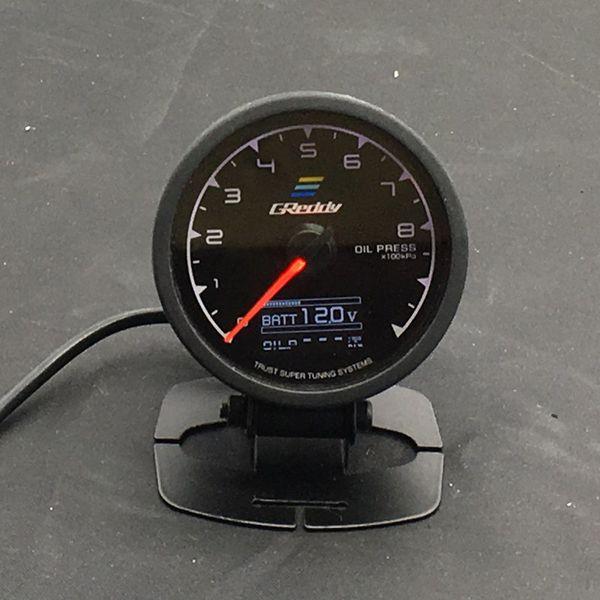 best selling 62mm 2.5 Inch 7 Color in 1 Racing GReddy Multi D A LCD Digital Display Oil Press Gauge Oil Pressure Sensor