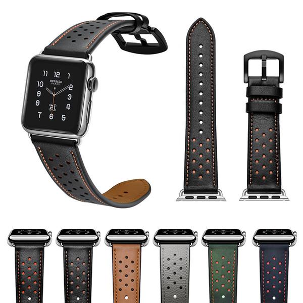 ca60206758b Faixa do estilo do furo para a apple watch 38mm 40mm 42mm 44mm pulseira de  couro