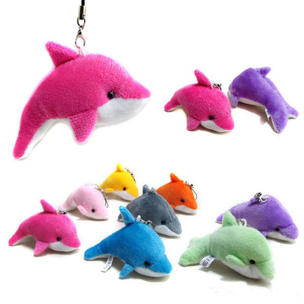 2018 Lovely Mixed Color Mini Cute Dolphin Charms Kids Plush Toys Home Party Pendant Gift Decorations Free Shipping OTH583