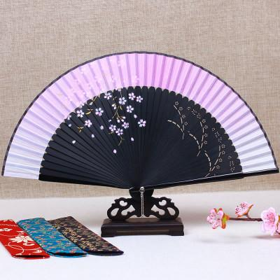 Ink painting cherry Japanese Fan Chinese Traditional Craft Bamboo Silk Folding Fan Handheld Portable Wedding Fans Personalized