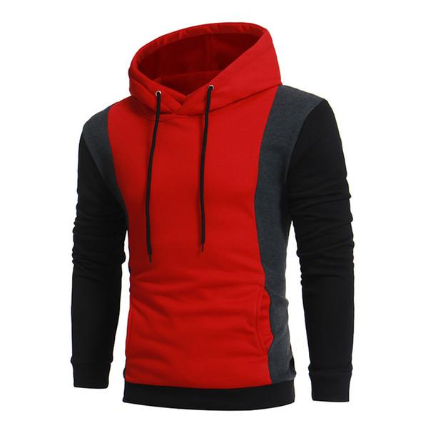 FeiTong Sweatshirts For Men Brand Mens Hoodies Streetwear Long Sleeve Patchwork Hoodie Hooded Pullover Sweatshirt