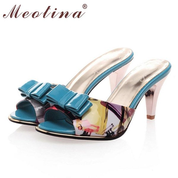 Wholesale-Meotina Ladies Sandals Summer Open Toe Slippers Stiletto High Heels Bow Print Women Shoes Party Heels Slides Blue Big Size 9 40