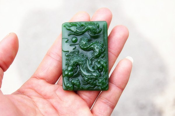 Free delivery - beautiful (outer Mongolia) emerald dragon dance (amulet). Hand-carved rectangular necklace pendant.