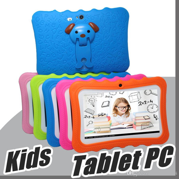 """best selling 2018 DHL Kids Brand Tablet PC 7"""" Quad Core children tablet Android 4.4 Allwinner A33 google player wifi big speaker protective cover L-7PB"""