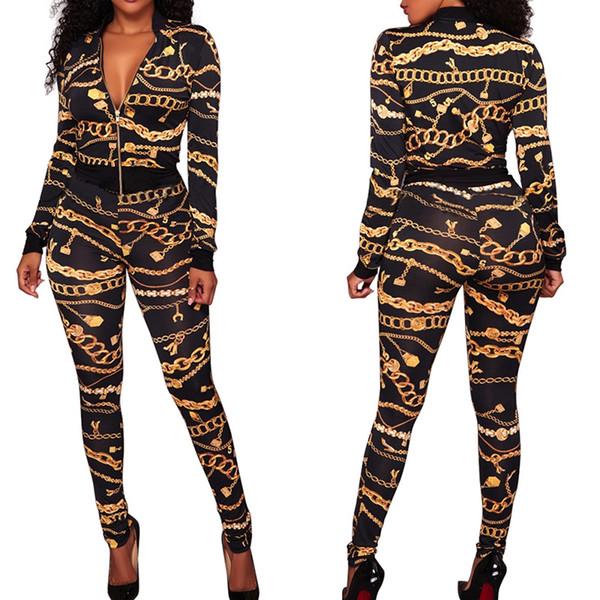 Mulheres de inverno Jaqueta + Calças 2 Peça Set Corrente De Impressão De Ouro Fato de Treino Feminino Equipamento Esportivo Colheita Top Zipper Sweatsuit