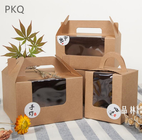 Kraft paper Cookie cake Packaging Box with clear pvc window 50pcs Candy Biscuit Chocolate Carton cardboard gift box with handle