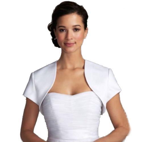 Factory Directly Sell Ivory Satin Short Sleeves Bridal Jacket Good Quality Wedding Bolero Free Custom Made
