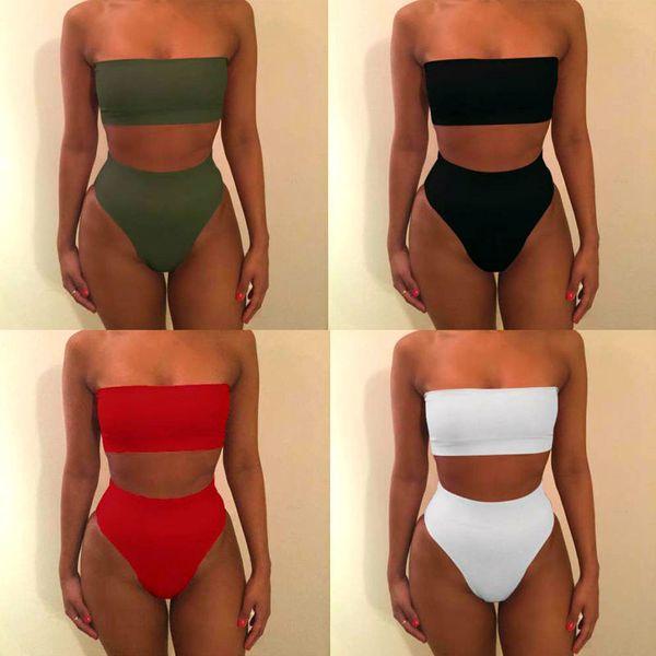 Solid Sexy High Waist Swimsuit Tube Top Bikini Bandeau Thong Women Plus Size Swimwear 2018 Biquinis Swimming Suit Bathing Suit
