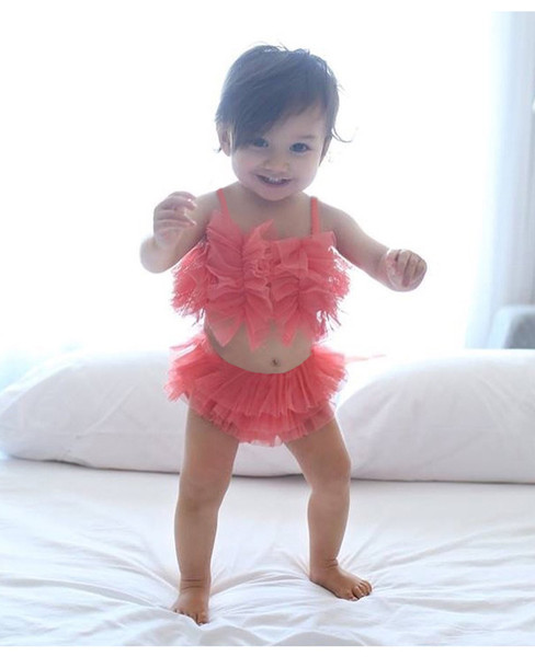 Baby Mädchen Outfit Sets Spitze Pumpum Gaze Bogen Gürtel Tops Sleeveless + Tutu PP Shorts Hosen 2 stück Set Anzüge Prinzessin Outfits Set A9446