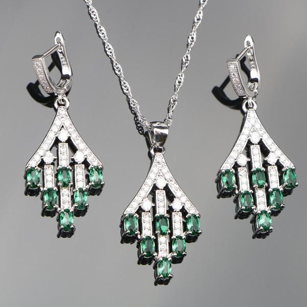 ostume jewelry set Plant Green Zircon 925 Silver Costume Jewelry Sets Wedding Women Stones Earrings Pendant Necklace Set of Jewelery Free...