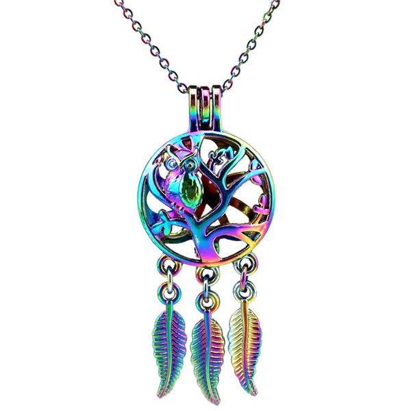 C711 Rainbow Color Dream Catcher Tree Owl leaf Beads Cage Pendant Essential Oil Diffuser Aromatherapy Pearl Cage Locket Pendant Necklace
