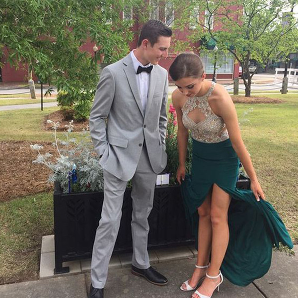 2018 Custom Made Teal Sparkly Beading Rhinestone Prom Dress Unique Neck Sexy See-through Mermaid Evening Gown