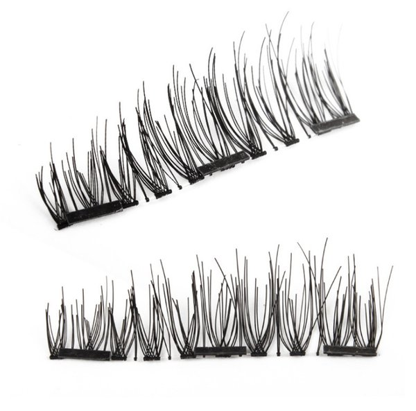 2018 Pure Handmade Magnet Fake Eyelashes 3PCS Magnetic Eyelash Extension Full Strip Lash Design Natural Curl Long False Eyelashes Kit Makeup