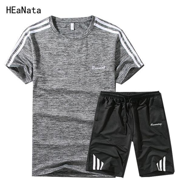 Hombres chándales ajustados camiseta hombres y pantalones de verano Chándales ocasionales ajustados trajes de sudor de la aptitud Ropa de la marca Sportman wear ropa