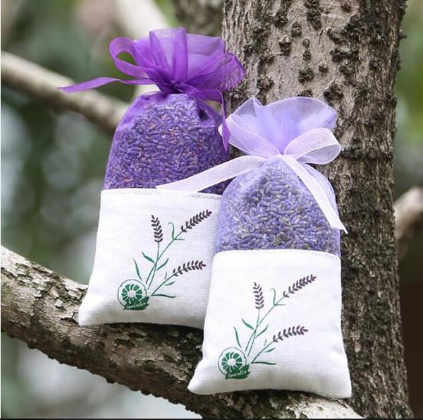Purple Cotton Organza Lavender Sachets DIY Dried Flower Sweet Bursa Wardrobe Mouldproof Fume Gift Bag