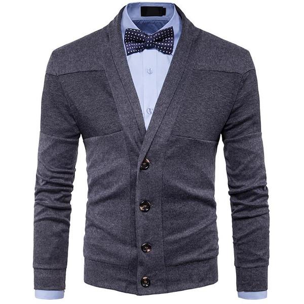 2018 Autumn Winter Clothes New Men's Fashion Casual Sweater British Retro V-neck Cardigan Men Slim Sweater jacket