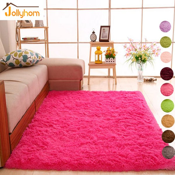 Cheveux Longs Tapis Solide Shaggy Carpettes Anti-Slip Carpets pour Salon Chambre Hôtel Rectangle Carpet-Accept Personnalisé
