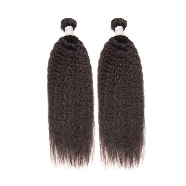 Brazilian Kinky Straight Hair Weave Bundles 2pcs 3pcs Lot Human Hair Extensions Coarse Yaki Virgin Hair Natural Color Free Shipping DHL