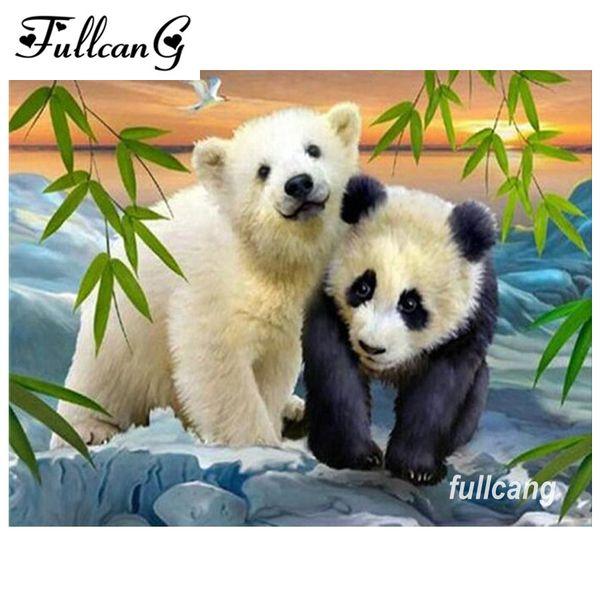 FULLCANG diy diamond embroidery polar bear and panda full square diamond painting cross stitch 5d diamond mosaic kits D613