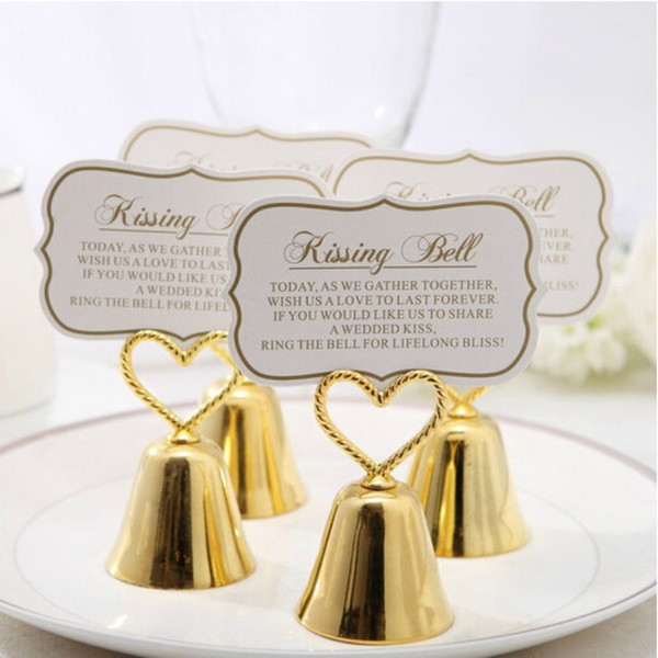 "Wedding Favor Party ""Kissing Bell"" Silver Bell Place Card Holder Photo Holder Wedding Table Decoration Favors"